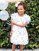 abordables Jupes pour Bébés-bébé Fille Actif / Chic de Rue Points Polka Paillettes / A Volants / Maille Sans Manches Robe Blanc / Bébé