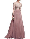 cheap Evening Dresses-A-Line Boat Neck Sweep / Brush Train Lace / Tulle Dress with Lace Insert by LAN TING Express