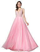 cheap Evening Dresses-A-Line Plunging Neck Sweep / Brush Train Tulle Dress with Crystals / Pearls by JUDY&JULIA