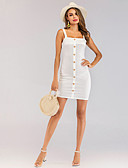 cheap Women's Dresses-Women's Elegant Bodycon Dress - Solid Colored White M L XL
