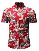 זול חולצות פולו לגברים-פרחוני צווארון חולצה Polo - בגדי ריקוד גברים שחור