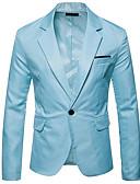 Недорогие Мужские блейзеры и костюмы-Муж. Блейзер Лацкан с тупым углом Полиэстер Темно синий / Светло-синий / Тёмно-синий L / XL / XXL