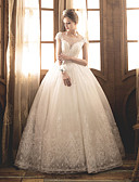 cheap Wedding Dresses-Ball Gown Bateau Neck Maxi Tulle / Sequined / Lace Over Satin Made-To-Measure Wedding Dresses with Crystals by LAN TING Express