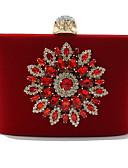 hesapli Mini Elbiseler-Kadın's Kristal Detaylar Kadife Gece Çantası Yapay elmas kristal gece çantaları Çiçek Desenli Siyah / YAKUT / Sonbahar Kış