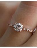 levne Bikini a plavky-Dámské Bílá Syntetický diamant Solitaire Prsten Zásnubní prsten Postříbřené Pozlacené Vintage Fashion Ring Šperky Stříbrná / Růžové zlato Pro Svatební Zásnuby Dovolená