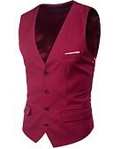 זול חליפות לנושאי הטבעת-בגדי ריקוד גברים יין כחול בהיר אפור בהיר XXXXL XXXXXL XXXXXXL וסט מידות גדולות צווארון V רזה