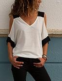 abordables Vestidos de Mujer-Mujer Camiseta, Escote en Pico Bloques Blanco M