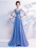 cheap Evening Dresses-A-Line V Wire Sweep / Brush Train Tulle Dress with Beading / Sequin / Appliques by LAN TING Express