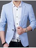billige Herreblazere og jakkesæt-Herre Blazer Hakrevers Polyester Sort / Lyseblå XXXL / XXXXL / XXXXXL
