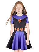 זול שמלות לבנות-שמלה מעל הברך שרוולים קצרים טלאים מתוק / סגנון חמוד בנות ילדים / כותנה