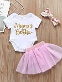 billige De flotteste sparkedragter-Baby Pige Aktiv / Basale Trykt mønster Trykt mønster Kortærmet Normal Bomuld Tøjsæt Hvid