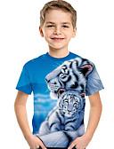 hesapli Kadın Etekleri-Çocuklar Toddler Genç Erkek Actif Temel Desen Desen Kısa Kollu Tişört Açık Mavi