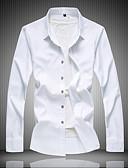 billige Herreskjorter-Stående krave Herre - Ensfarvet Plusstørrelser Skjorte Sort XXXXL