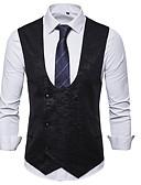 זול חולצות לגברים-בגדי ריקוד גברים שחור כחול נייבי אפור L XL XXL וסט צווארון V רזה