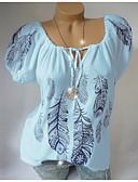 halpa Pluskokoiset mekot-Naisten V kaula-aukko Geometrinen Pluskoko - T-paita Valkoinen