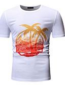 abordables Camisas de Hombre-Hombre Talla EU / US Camiseta, Escote Redondo Gráfico Blanco XL