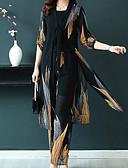 hesapli İki Parça Kadın Takımları-Kadın's Sokak Şıklığı / sofistike Set - Bölünmüş, Ekose / Paisley Pantolon