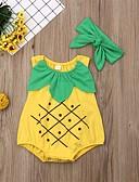 זול אוברולים טריים לתינוקות-חליפת גוף כותנה ללא שרוולים דפוס דפוס פעיל / סגנון רחוב בנות תִינוֹק 2pcs
