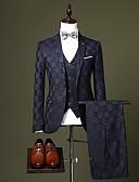 זול טוקסידו-בורגנדי / שחור / כחול ים מְשׁוּבָּץ גזרה מחוייטת פוליאסטר חליפה - פתוח Single Breasted One-button