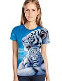 hesapli Tişört-Kadın's Salaş - Tişört Desen, 3D / Hayvan / Karton Büyük Bedenler Açık Mavi
