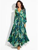 cheap Women's T-shirts-Maxi Dress A-Line V Neck Floor Length Chiffon Dress with Sash / Ribbon by LAN TING Express