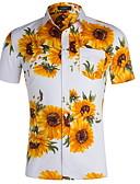 levne Pánské košile-Pánské - Květinový Košile Bílá L / Krátký rukáv