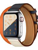 זול רצועת שעונים-עור אמיתי כפול להקת סיור עבור סדרת שעונים Apple 4 3 2 1 חגורת עור צמיד wrist חגורה watchband עבור iwatch סדרה 42mm 38mm 40mm 44mm החלפת watchband