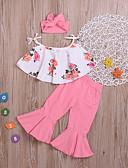 זול סטים של ביגוד לתינוקות-סט של בגדים כותנה קצר ללא שרוולים דפוס בסיסי בנות תִינוֹק / פעוטות