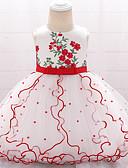 זול אוברולים טריים לתינוקות-שמלה כותנה עד הברך ללא שרוולים פפיון / רקום אחיד / פרחוני פעיל / בסיסי בנות תִינוֹק