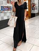 hesapli NYE Elbiseleri-Kadın's Temel Çan Elbise - Solid Maksi
