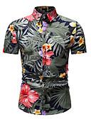 hesapli Erkek Gömlekleri-Erkek Dik Yaka Gömlek Çiçekli / Geometrik Gökküşağı / Kısa Kollu