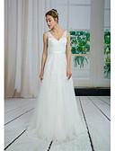 abordables Vestidos de Novia-Corte en A Escote en Pico Larga Encaje / Tul Vestidos de novia hechos a medida con Apliques / Encaje por ANGELAG