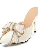 hesapli Romantik Dantel-Kadın's Ayakkabı PU Yaz Klasik / İngiliz Terlikler ve Sandaletler Stiletto Topuk Sivri Uçlu Düğün / Parti ve Gece için Fiyonk Gümüş / Şeftali / Kırmzı