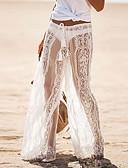hesapli Kadın Etekleri-Kadın's Temel / Sokak Şıklığı İnce / Salaş Geniş Bacak / Chinos Pantolon - Solid Dantel / Kırk Yama Beyaz Siyah YAKUT M L XL