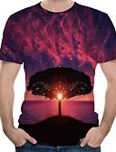 hesapli Erkek Tişörtleri ve Atletleri-Erkek Yuvarlak Yaka Tişört Desen, Ağaçlar / Yapraklar AB / ABD Beden Fuşya