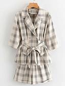 hesapli Suit-Kadın's Suit Sivri Yaka Polyester Beyaz / Doğal Pembe S / M / L