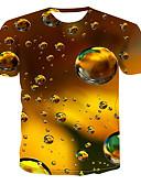 זול טישרטים לגופיות לגברים-קולור בלוק / 3D / גראפי צווארון עגול סגנון רחוב / פאנק & גותיות מידות גדולות טישרט - בגדי ריקוד גברים דפוס זהב XXXXL