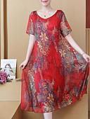 זול שמלות מודפסות-מידי קפלים דפוס, פרחוני - שמלה נדן מתוחכם אלגנטית בגדי ריקוד נשים