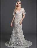 cheap Evening Dresses-Boho Mermaid / Trumpet V Neck Court Train Lace Made-To-Measure Wedding Dresses with Lace by LAN TING BRIDE®