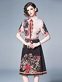 abordables Encaje Romántico-Mujer Vintage Línea A Vestido - Estampado Hasta la Rodilla