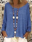 billige Bluse-Dame - Ensfarvet Patchwork T-shirt Lilla