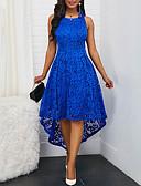 preiswerte Cocktailkleider-A-Linie Schmuck Asymmetrisch Spitze Kleid mit Spitzeneinsatz durch LAN TING Express