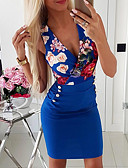 cheap Women's Dresses-Women's Bodycon Dress - Floral Blue White M L XL