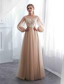 abordables Vestidos de Dama de Honor-Corte en A Joya Hasta el Suelo Tul Vestido con Apliques por LAN TING Express