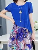 זול שמלות מודפסות-נשים, הברך, אורך, שיפון, שיפון, שמלה, שיפון, אור, כחול, סמוק, ורוד, צהוב, m, xl xxl