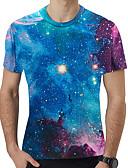 billige T-shirt-Rund hals Herre - Galakse / 3D Trykt mønster T-shirt Regnbue