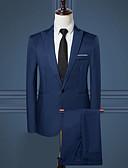 halpa Miesten bleiserit ja puvut-Miesten Suits, Yhtenäinen / Color Block Lovikäänne Raion / Polyesteri Vaalean sininen / Khaki / Laivastosininen XL / XXL / XXXL