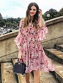 hesapli Mini Elbiseler-Kadın diz boyu gömlek elbise v boyun kızarma pembe siyah mavi xl xxl xxxl xxxxl