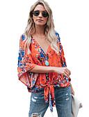 זול חולצה-גיאומטרי צווארון V חולצה - בגדי ריקוד נשים פול