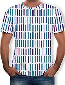 זול טישרטים לגופיות לגברים-גיאומטרי / קולור בלוק / 3D צווארון עגול מידות גדולות טישרט - בגדי ריקוד גברים דפוס קשת